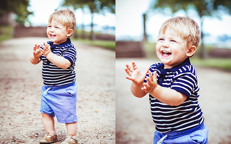 photo of a little boy smiling during a family photo shoot in Bristol