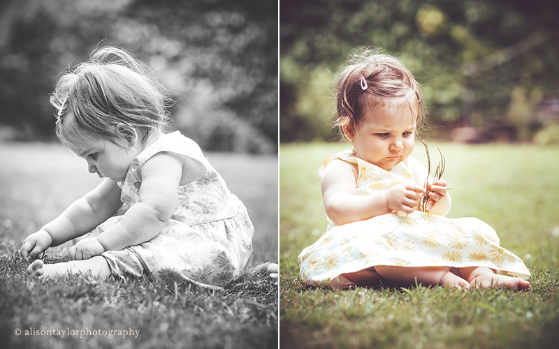little girl looking at a leaf during a one year old photo shoot
