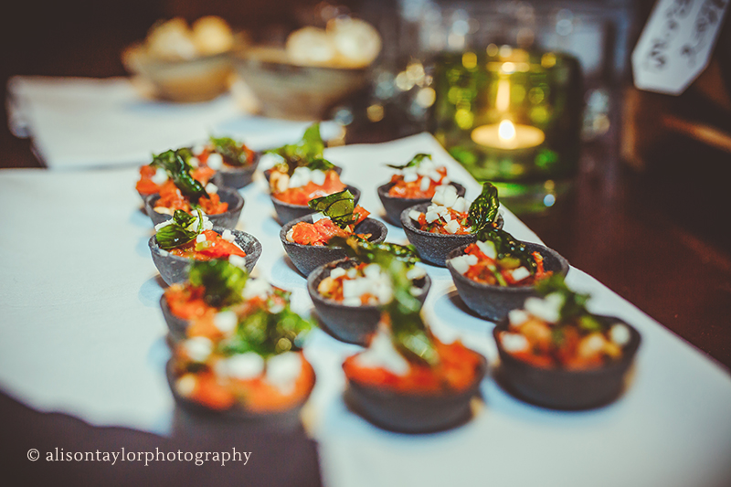 Hors d'oeuvres for a birthday party at cowley manor in cheltenham