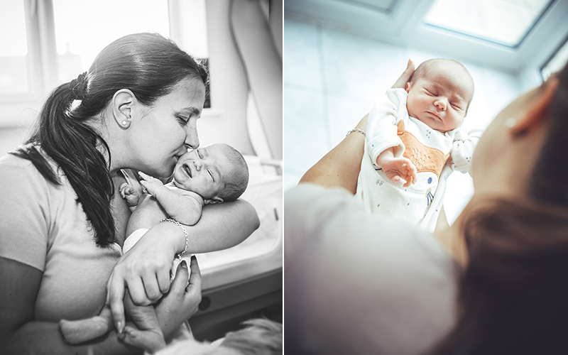 mother kissing baby - newborn photographer bath