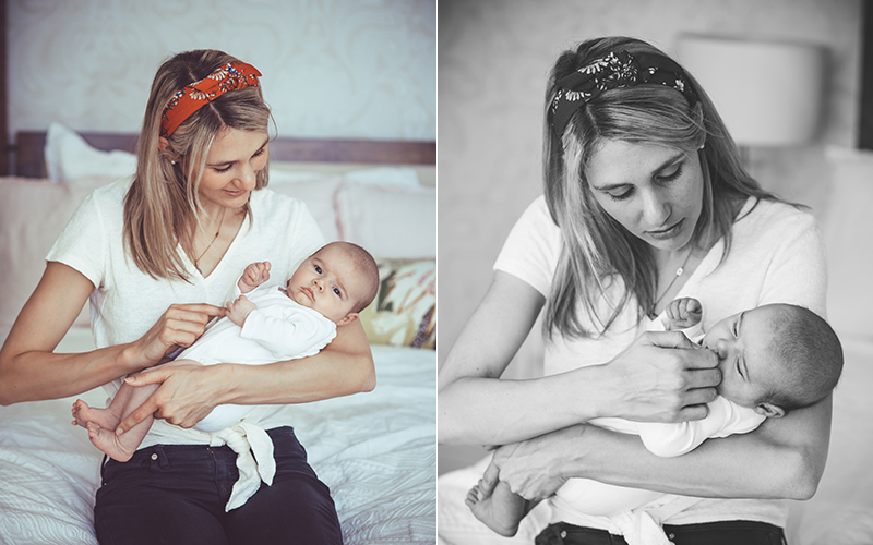 mother with newborn baby during a newborn photo shoot in Bath by Alison Taylor Photography