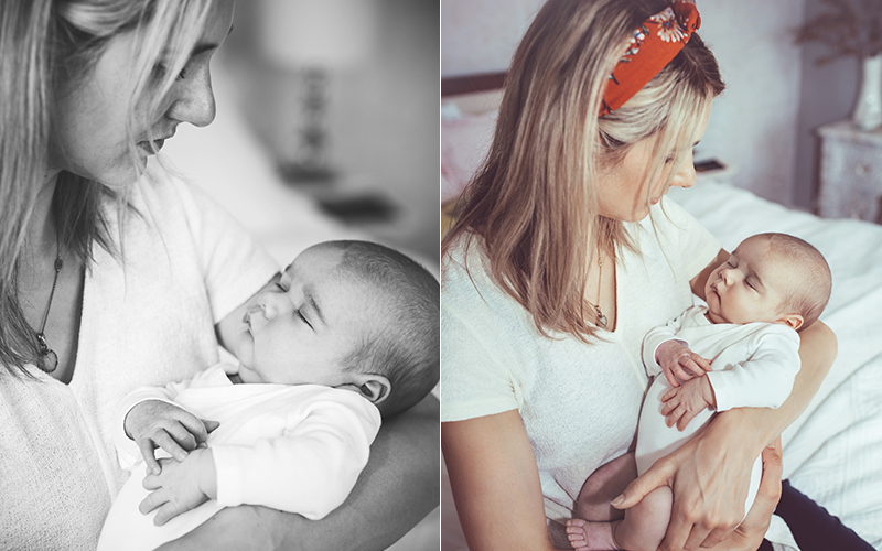 mother holding newborn baby during a newborn baby photo shoot in Bath