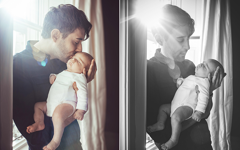 father holding newborn baby - newborn photographer bath
