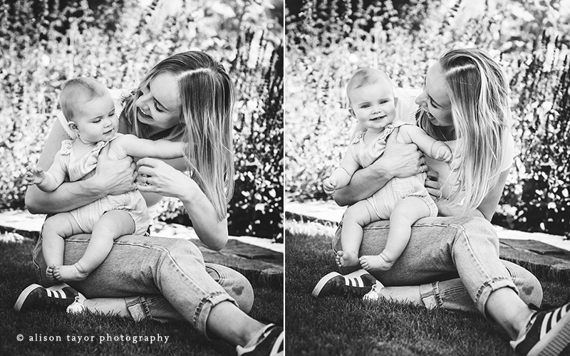 black and white photos of mother with baby during a photo shoot