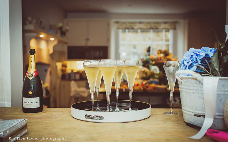 Photo of champagne at wedding reception